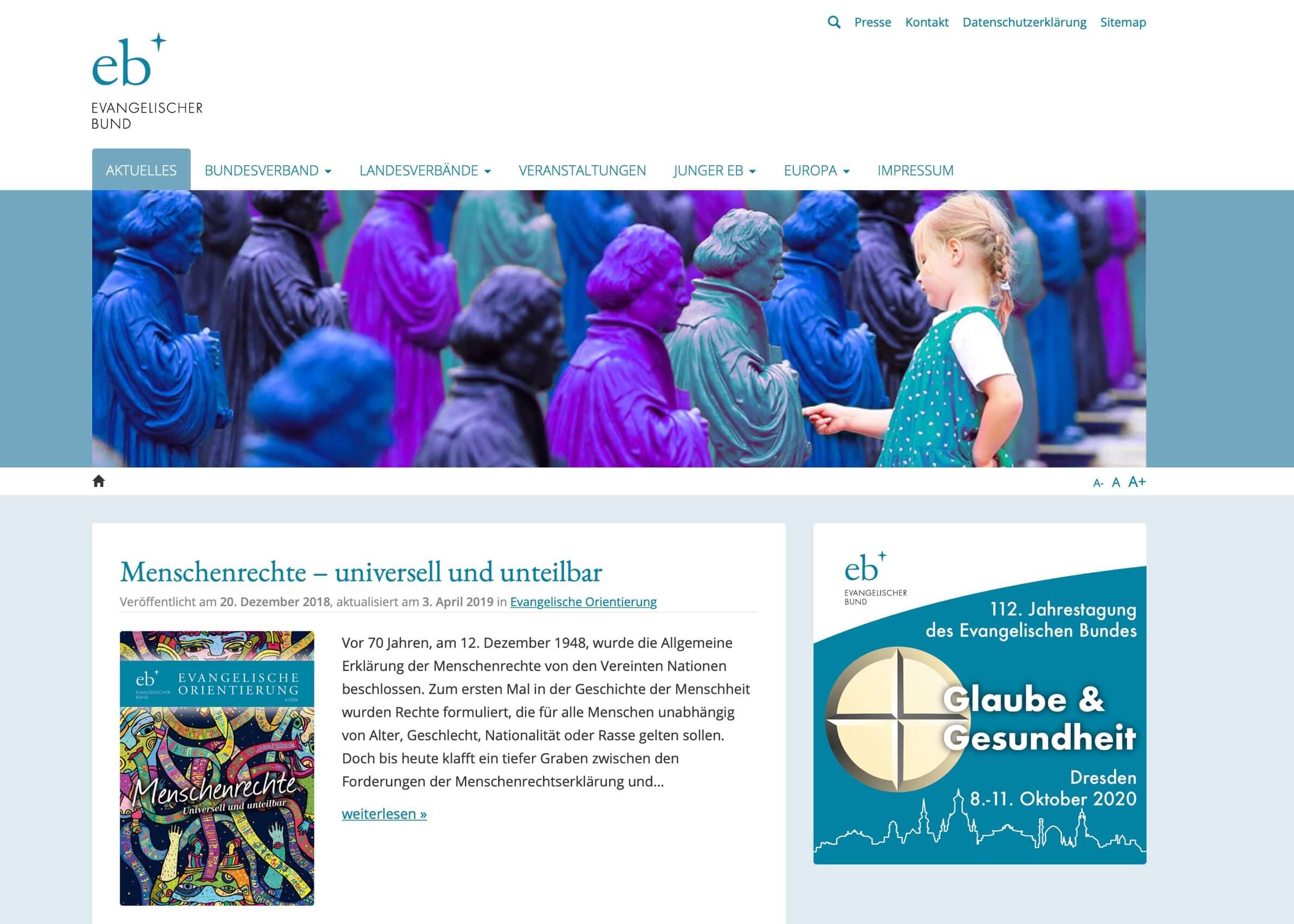 Startseite der neuen Webseite des Evangelischen Bundes
