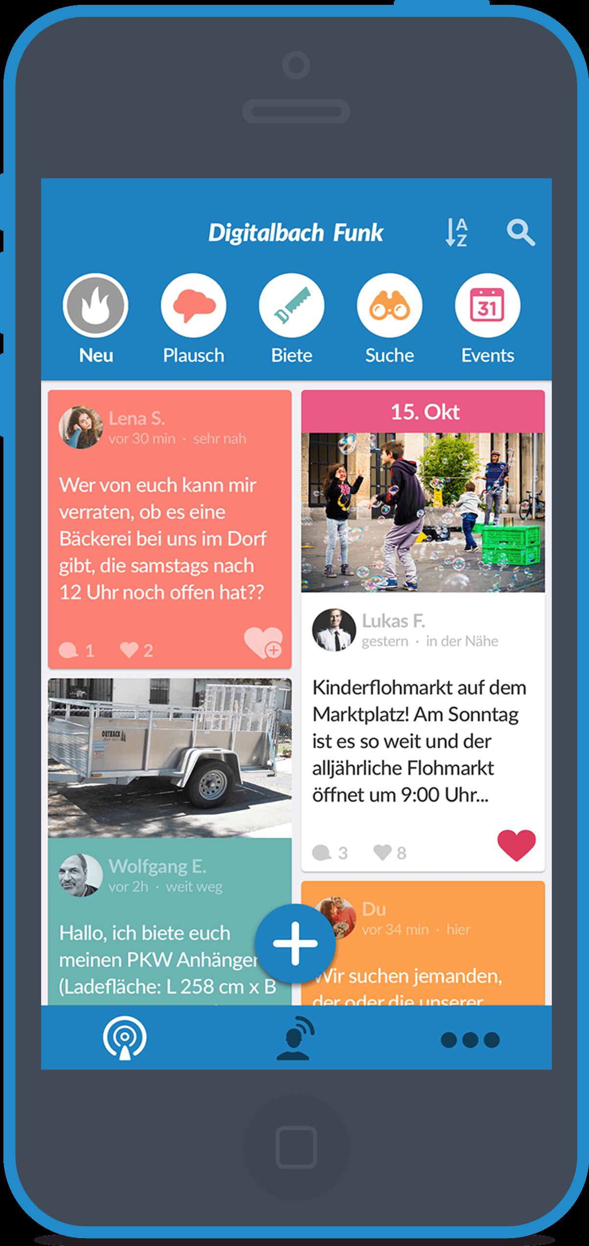 Startseite von DorfFunk zeigt die neusten Beiträge