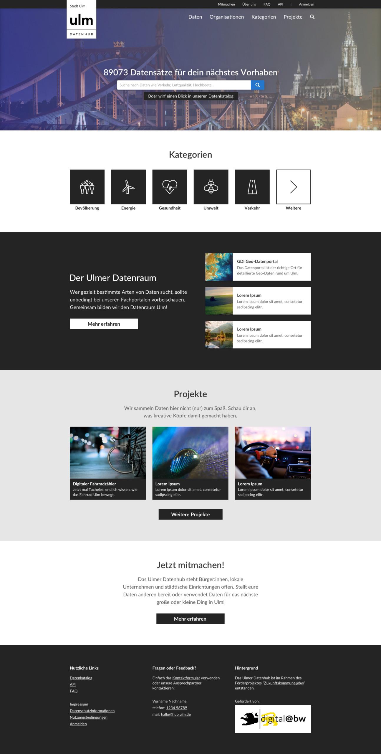 Startseite der Datenplattform für die Stadt Ulm